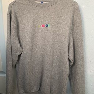 """I am ok"" grey crewneck"